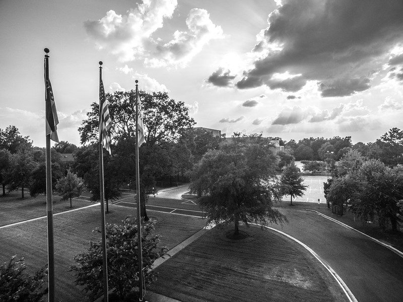Flagpoles and Clouds (BW)