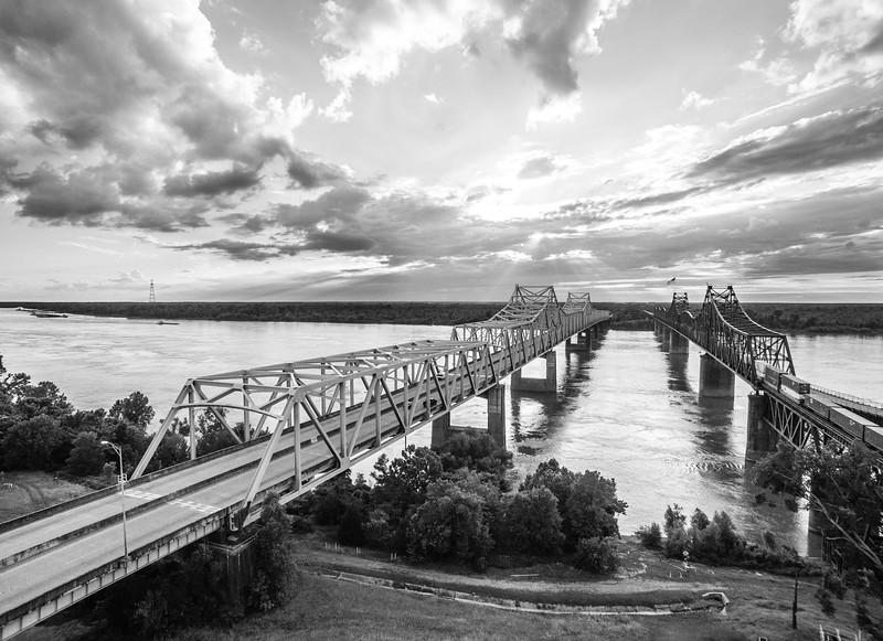 Mississippi River Bridge at Vicksburg (BW)