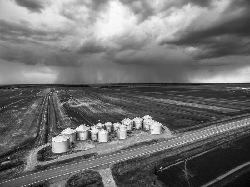 Rainclouds & Rice Bins (BW)