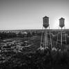 Twin Towers in the Sun (BW)