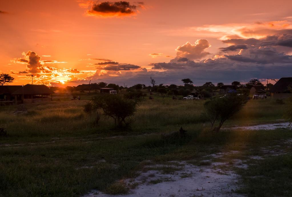 Sunset over Elephants Sands camp