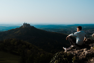 My nephew enjoying the evening sun at Hohenzollern Castle