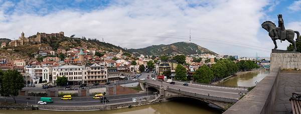Tbilisi from the Virgin Church with the statue of king Vakhtang Gorgasali on the right