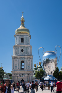 St. Sophia's Cathedral with a huge blowup champions league trophy next to it