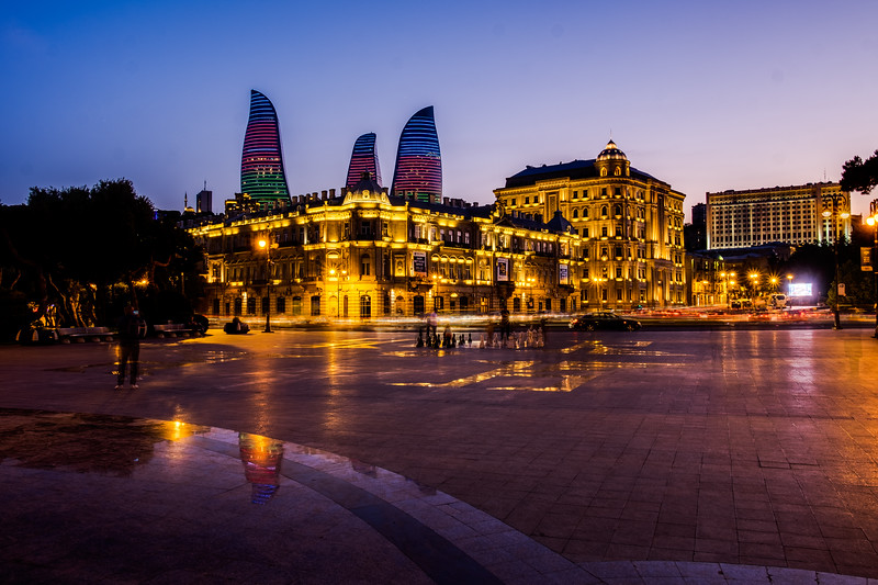 The flame towers in Baku at night