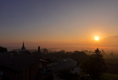 A beautiful sunrise over the town of Sax (Switzerland)