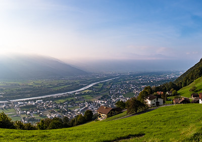 Liechtenstein on the right, the river Rhine is the border to Switzerland