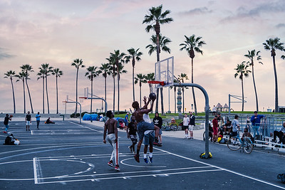 The basketball courts in Venice Beach