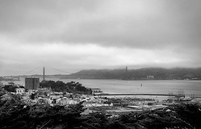 The Golden Gate Bridge halfway covered in the fog. Shot from Coit Tower.