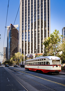 Lovely classic cable cars in downtown San Francisco