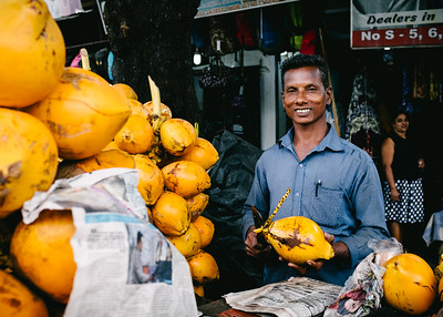 Streets of Colombo - the friendly coconut guy