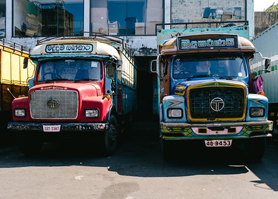 Colorful trucks at the market in Colombo