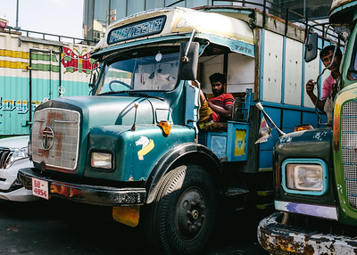 The friendly truck drivers at the market in Colombo