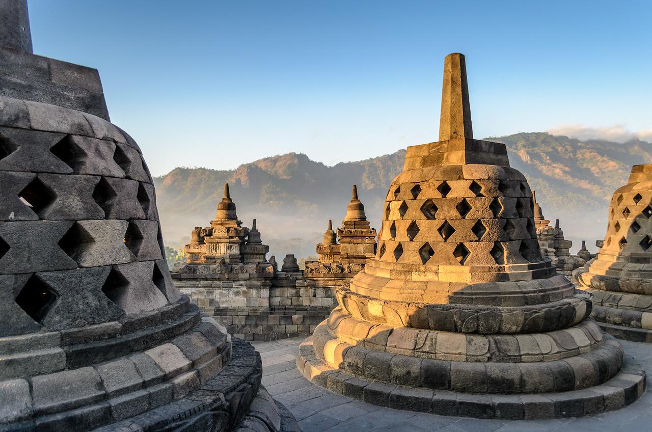 Stupas at Borobudur, Java