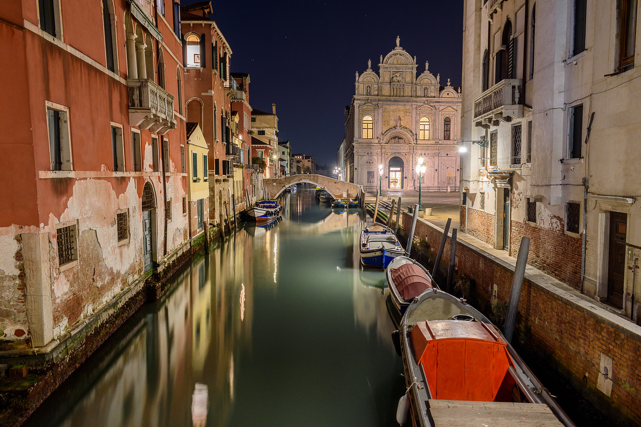 Canal at night, Venice