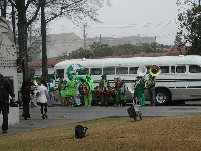 """The band was ready to make the march to the Fuller Center rehab house that was to be dedicated, as the attendees marched out of the church to """"We're Marching to Zion""""."""