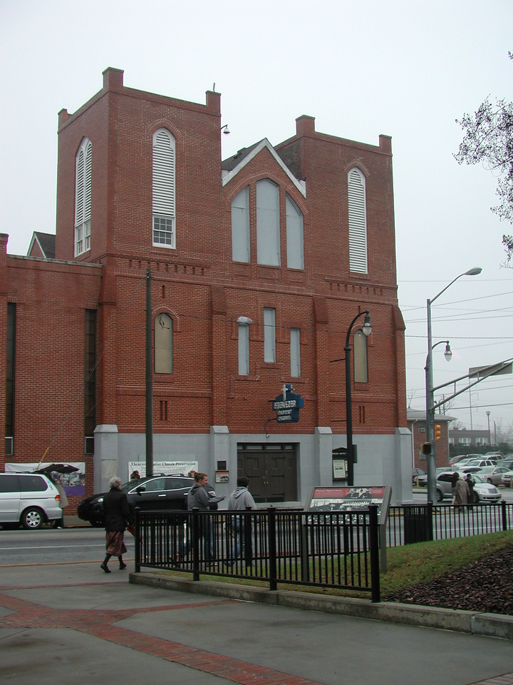 The original Ebenezer Baptist Church, which appeared to be undergoing renovation.