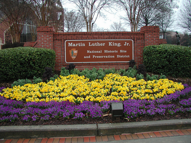The new Ebenezer Baptist Church is in the MLK National Historic Site, and across the street from the original church.