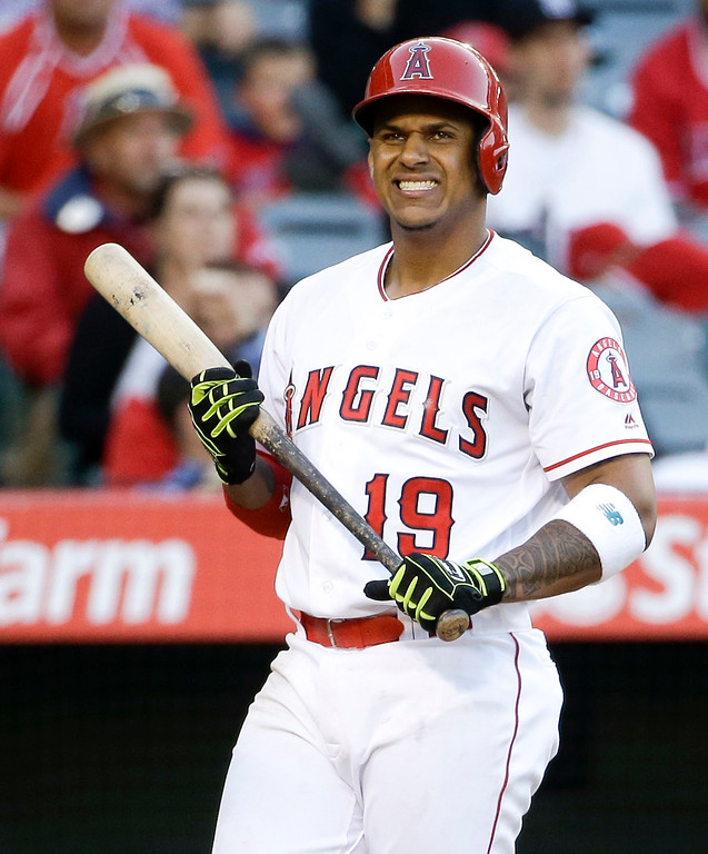 . Los Angeles Angels\' Jefry Marte reacts to a called strike during the ninth inning of a baseball game against the Detroit Tigers in Anaheim, Calif., Wednesday, June 1, 2016. The Tigers won 3-0. (AP Photo/Chris Carlson)
