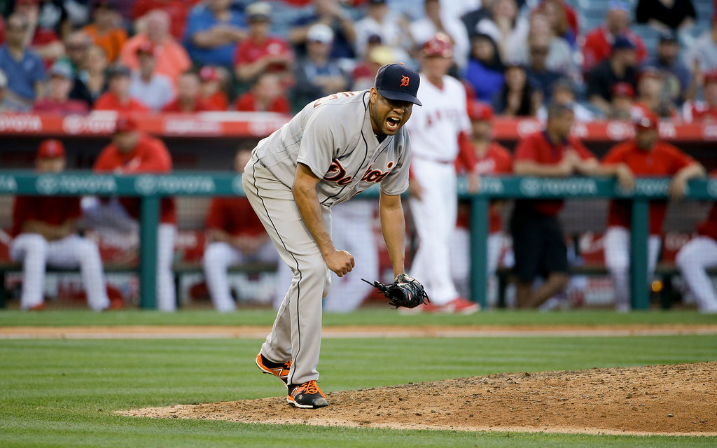 . Detroit Tigers relief pitcher Francisco Rodriguez celebrates after the Tigers\' 3-0 win over the Los Angeles Angels in a baseball game in Anaheim, Calif., Wednesday, June 1, 2016. (AP Photo/Chris Carlson)
