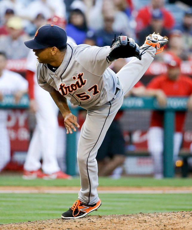 . Detroit Tigers relief pitcher Francisco Rodriguez follows through on pitch to the Los Angeles Angels during the ninth inning of a baseball game in Anaheim, Calif., Wednesday, June 1, 2016. The TIgers won 3-0. (AP Photo/Chris Carlson)