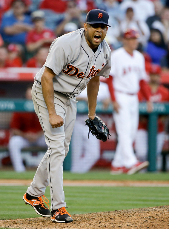 . Detroit Tigers relief pitcher Francisco Rodriguez celebrates after the Tigers\' 3-0 win against the Los Angeles Angels during a baseball game in Anaheim, Calif., Wednesday, June 1, 2016. (AP Photo/Chris Carlson)