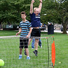 Lowell High School Life Skills students played some soccer on Friday afternoon during the new Fun Friday program this year. Student Eddie Polanco watches the ball go into the goal as Life Skills teacher Lenny Rapone cheers for student Sam Field for scoring the goal. SUN/JOHN LOVE
