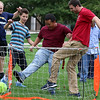 Lowell High School Life Skills students played some soccer on Friday afternoon during the new Fun Friday program this year. From left playing is Life Skills teacher Lenny Rapone, students Eddie Polanco, Danny Soung, teacher Steven Felde, students Ethan yem and Chris Soiles. SUN/JOHN LOVE