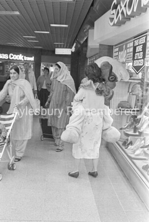 Smurfs in Hale Leys Shopping Centre, Aug 1986