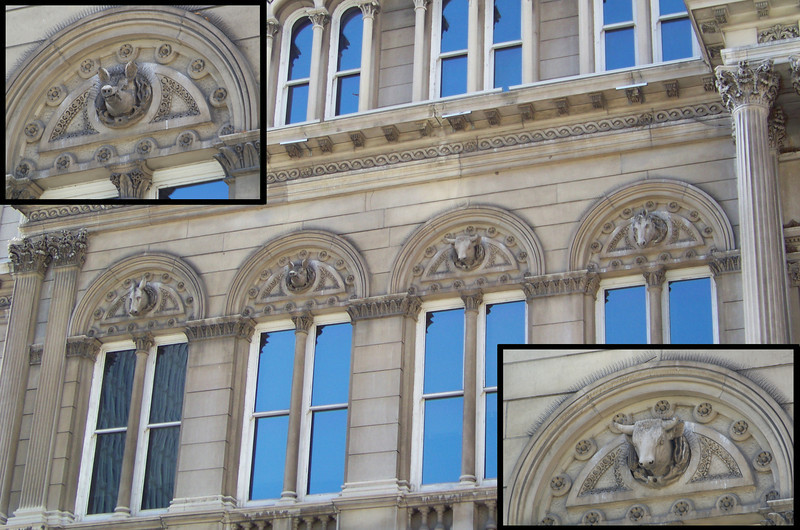 After lunch, he continued following the tour the librarian had suggested, stopping next at City Hall, replete with farm-animal gargoyles.