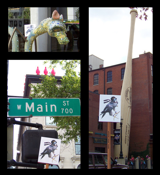 Baron wandered Main street; he found many great wonders there, including giant red penguins, a dragon, and the Louisville Slugger Musuem.  There Baron learned that many children play baseball, which Baron found satisfying, but was dismayed to learn of the outrageous salaries earned by professional players.  Though Baron was a member of the nobility himself, he was of an egalitarian bent.