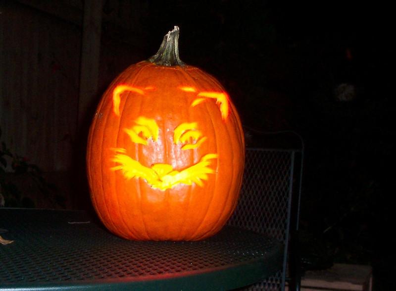 It was hard work, but the neighbors enjoyed our jack-o-lanterns.