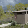 This latrine is on the road that travels along the South Fork of the Shoshone River from Cody, Wyoming.  The aspens and cottonwoods are just starting to leaf out!  May 17th, 2014