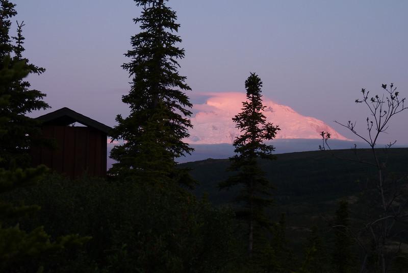Our neighbor's latrine basks in the Alpenglow of the mountain. Denali National Park, Alaska, June 2012