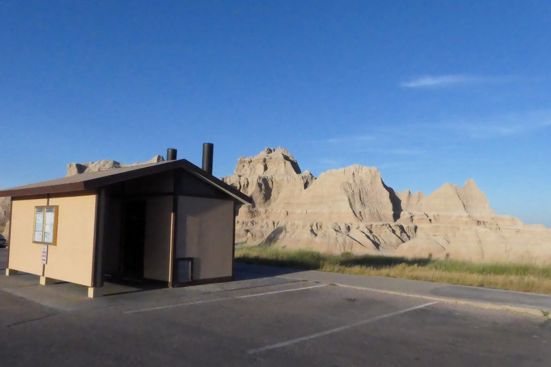 Not a great photo, but the scene was lovely.  Late summer evening in the Badlands National Park, South Dakota, August 9th, 2020