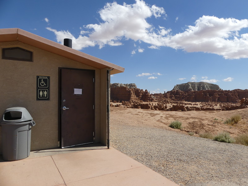 This latrine is in an amazing state park in the middle of nowhere, Utah!  Goblin Valley State Park, Utah, September 28, 2019