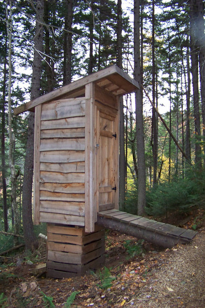 Latrine at Bretton Woods ski resort in the White Mountains.  We were there in the fall for a Zipline tour, but this latrine is clearly built for winter!  New Hampshire, October 6, 2010