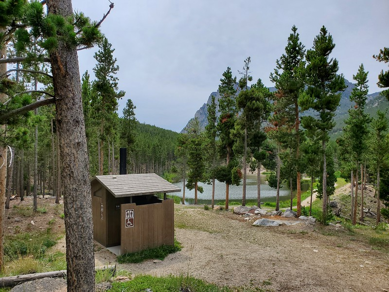We only saw this outhouse on a day hike.  We didn't camp here, but this outhouse is at Greenough Lake Campground in the Custer Gallatin National Forest, Montana. August 6, 2021.