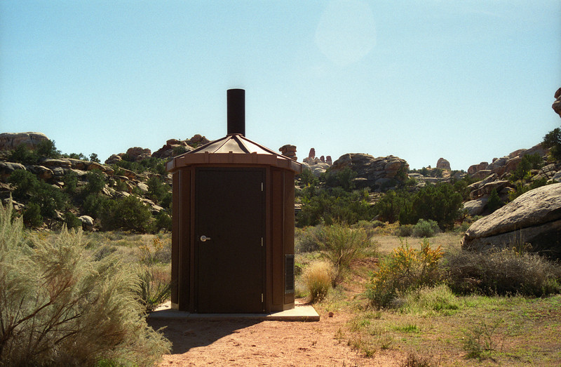 This latrine seemed wonderfully out of place in the desert. Canyonlands National Park, Utah, October 1997