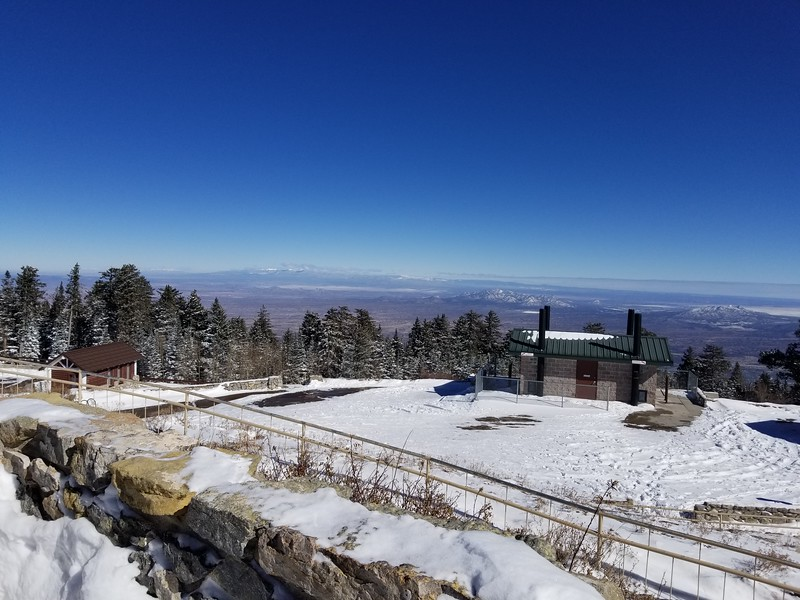 We were planning a nice hike on a trail from the Sandia Crest in the Cibola National Forest, but were hit with an early snowstorm, so we shortened our hike quite a bit.  The views were amazing, though!  Sandia Crest outside Albuquerque, New Mexico, November 13th, 2018