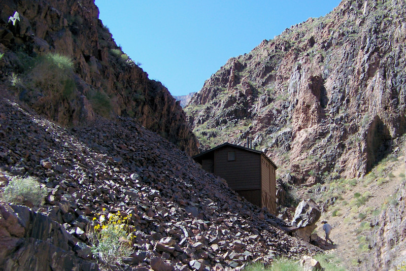 The Pipe Creek/River Resthouse on the Bright Angel Trail in the Grand Canyon is a good stopping point just before the trail out of the canyon begins the unrelenting uphill slog.  Grand Canyon National Park, April, 2011