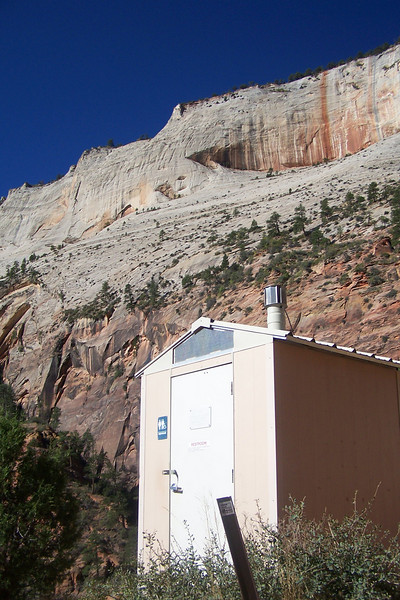 Simply spectacular. Again, a pragmatic solution by the Park Service to a problem of insufficient vegetative cover, in addition to preventing hikers from falling to their deaths in search of privacy. Zion National Park, Utah, October 2006