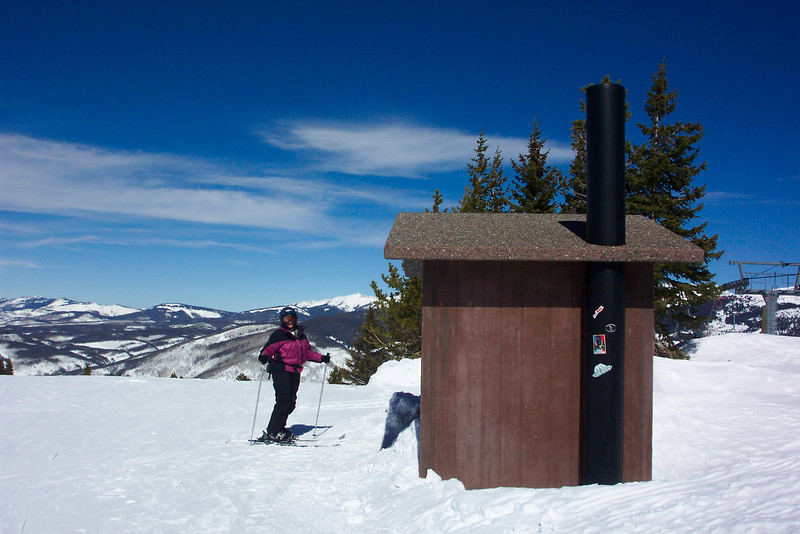 We thought this latrine at the top of Vail Mountain deserved a place in the album, as a nicely situated specimen.  The interior contained a stalagmite of frozen waste which was most interesting!  Vail, Colorado.  March 2011