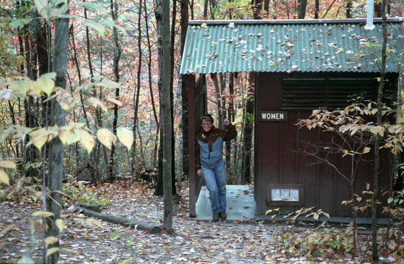 We start by featuring a latrine close to home, modeled by a very young Jeane. Red River Gorge, October 1988