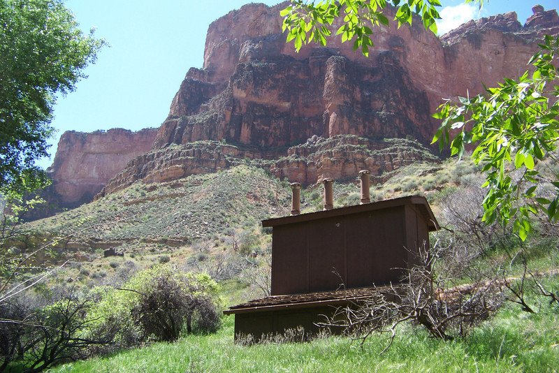 This roomy latrine overlooks our campground at Indian Gardens.  The Grand Canyon trip has significantly increased our outhouse collection!  Grand Canyon National Park, April 2011