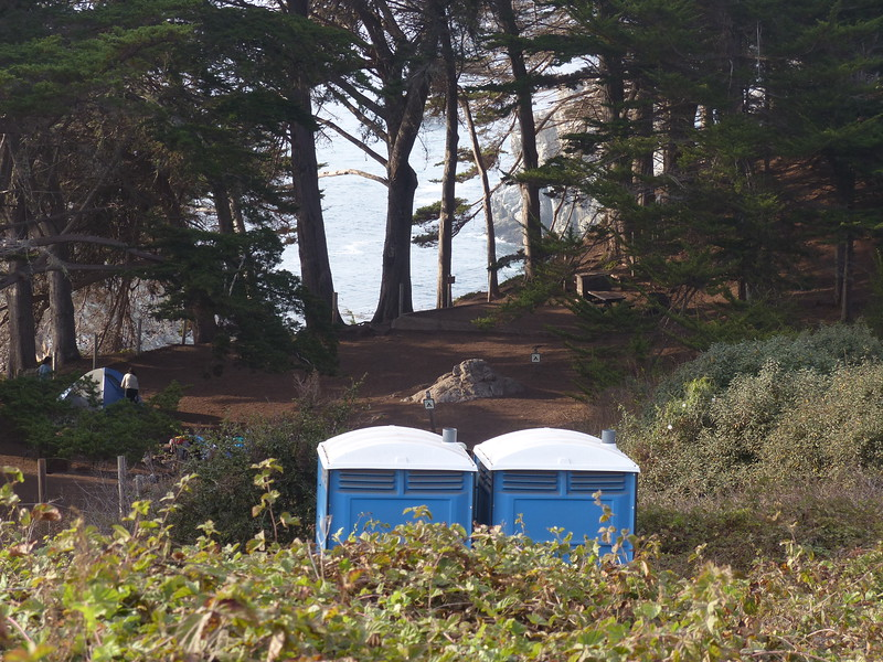 The California State Park system might have made more of an effort to have these blend in with their surroundings!  Julia Pfeiffer Burns State Park, Big Sur, California.  October 2015