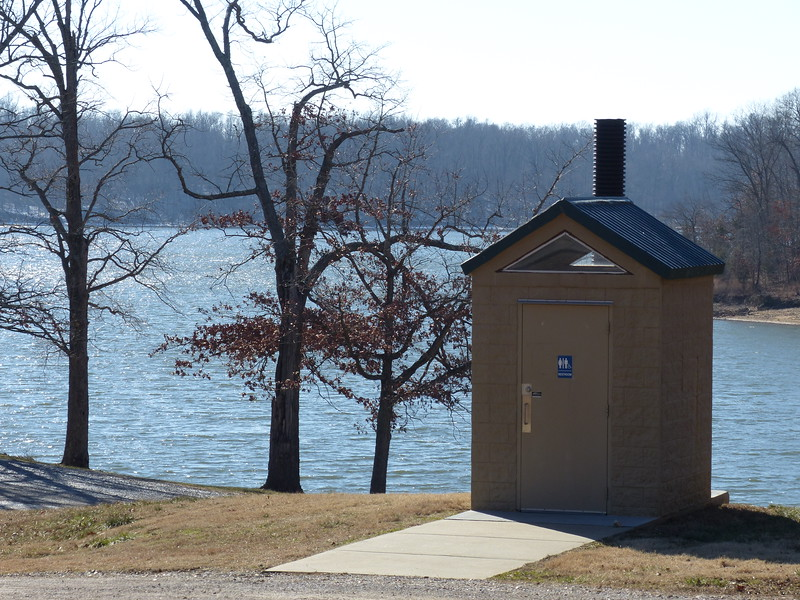 This outhouse is perched right on the shore of Kentucky Lake!  We visited during the winter on an eagle-watching trip.  January, 2015