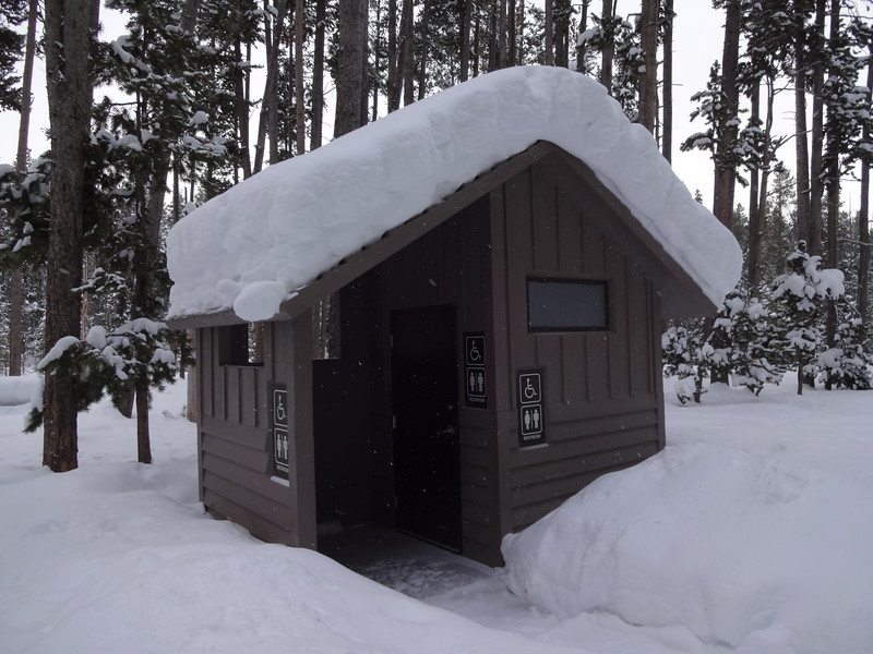 Our Yellowstone winter adventure started with a snow coach drive into the Old Faithful Snow Lodge.  We stopped at the Gibbon Picnic Area for a bathroom break and a look at Gibbon Falls; Yellowstone National Park, Wyoming, February 2019