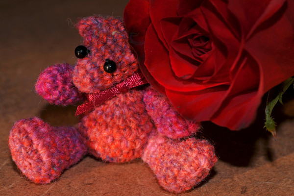 Noro sock leftover bear with one of my anniversary roses...<br /> because I want memories of both to last forever!