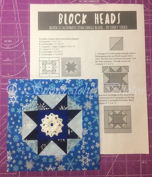 Corey Yoder's alternate Block 21, Circle and Snowflake